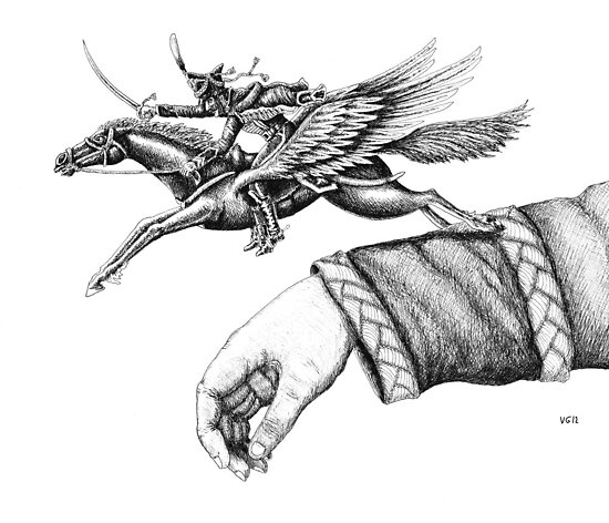 Flying Hussar surreal pen ink black and white drawing by Vitaliy Gonikman