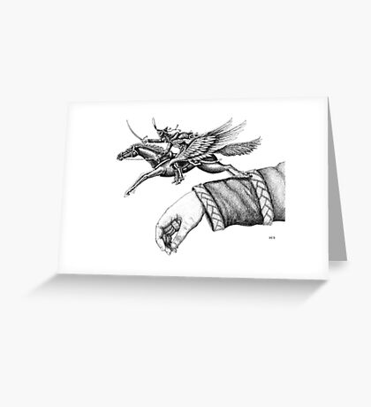Flying Hussar surreal pen ink black and white drawing Greeting Card