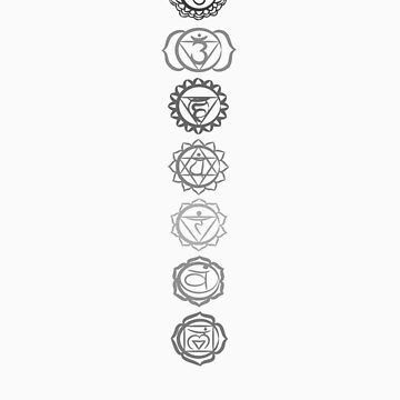 seven chakras (neutral greys) by offpeaktraveler