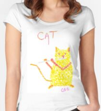 Yellow Cat Playing Flute Women's Fitted Scoop T-Shirt
