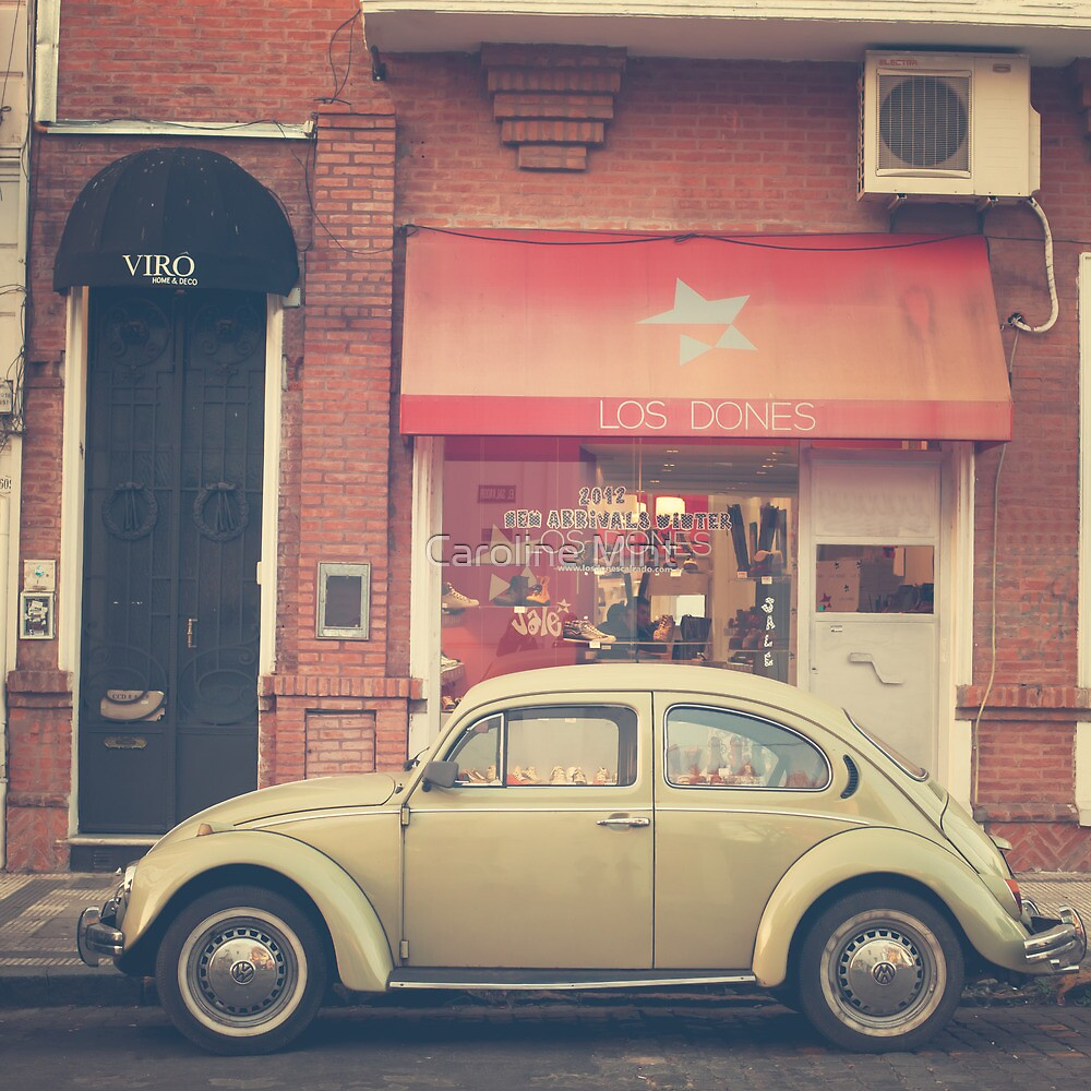 Beige Volkswagen Bug and a lovely Pink Shop (Vintage - Retro Urban Photography) by Caroline Mint