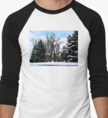 Trees in Snow Men's Baseball ¾ T-Shirt