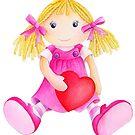 Girls toy rag doll watercolor kids nursery art pink by Sarah Trett