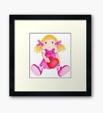 Girls toy rag doll watercolor kids nursery art pink Framed Print