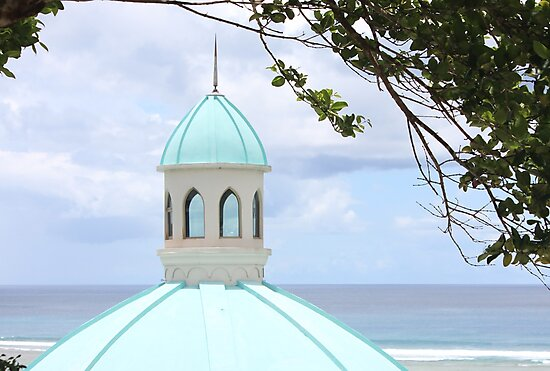 Chapel tower by the beach by Louis Delos Angeles