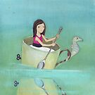 Girl rowing her teacup and seahorse away from extinction by Helga McLeod