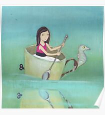 Girl rowing her teacup and seahorse away from extinction Poster