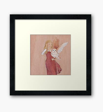 Girl and Owl, a love story Framed Print