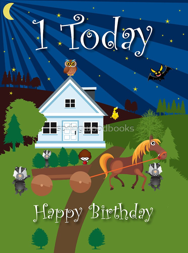 The Night Badgers 1st Birthday Card by springwoodbooks