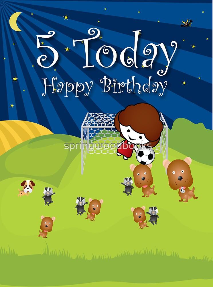 The Night Badgers Play Football 5th Birthday Card by springwoodbooks