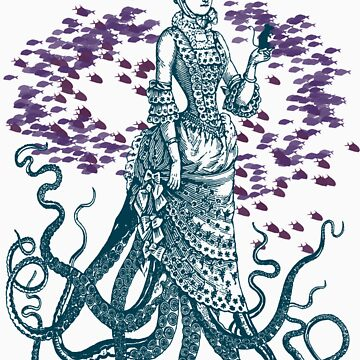 Octopus Lady Holding a Dancing Mouse by KaliBlack