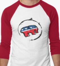 Republican Elephant Grunge Men's Baseball ¾ T-Shirt