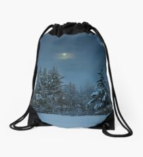 Winter Moon Shine Over Island Park Drawstring Bag