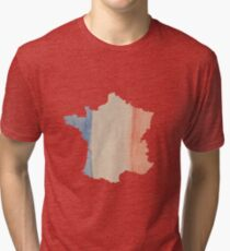 France Country Outline in Tricolor Flag Colors Tri-blend T-Shirt