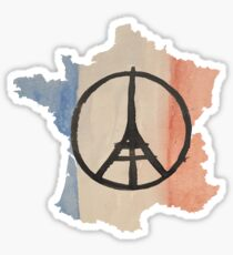 France Country Outline Tricolor Flag & Paris Peace Sticker