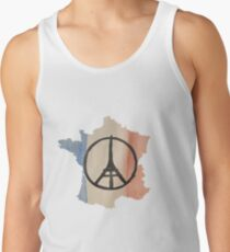France Country Outline Tricolor Flag & Paris Peace Tank Top