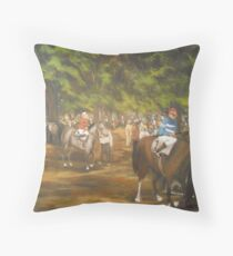 The Paddock at Saratoga Racetrack, C. 1935 Throw Pillow