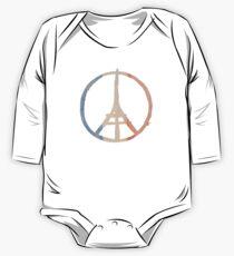 Paris Peace Eiffel Tower in Tricolor Colors One Piece - Long Sleeve