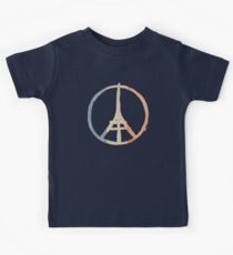 Paris Peace Eiffel Tower in Tricolor Colors Kids Tee