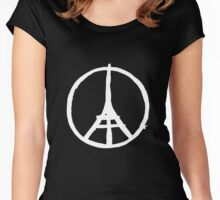 White Eiffel Tower Repeat on Black Paris Terror Attacks Women's Fitted Scoop T-Shirt