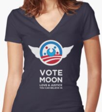 Moon President Power Women's Fitted V-Neck T-Shirt