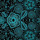 Turquoise & Black Vintage Abstract Floral Pattern by artonwear