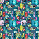Cute Colorful Abstract Hand-drawn Retro Flowers Pattern by artonwear