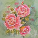 Pink Posy  Watercolour Flowers at their best by Shoshonan