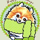 Pomeranian Happy Howlidays Christmas Cards by offleashart
