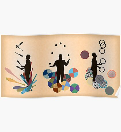 Silhouette Juggler with Props - Clubs, Rings and Balls Poster