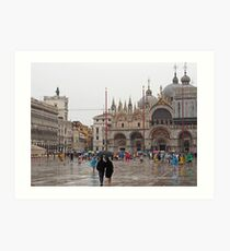 Venedig - St. Marks Square im Regen Kunstdruck