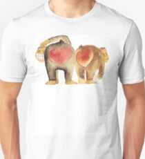 Valentine's Day Abstract Love Monkeys T-Shirt Slim Fit T-Shirt