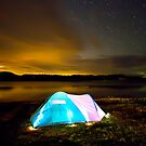 Tent by lake under stars by kmatm