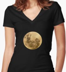 Moon on the man Women's Fitted V-Neck T-Shirt