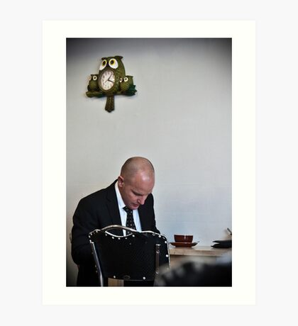 Man with owl clock Art Print