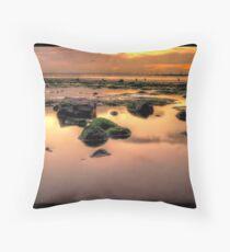 Redcar Beach at Low Tide Throw Pillow