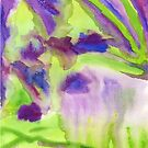 Abstract Watercolor Iris Field Purple Blue Green by Beverly Claire Kaiya