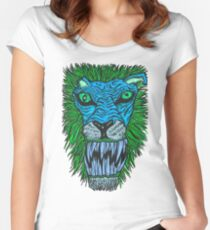 Monster Mondays #2 - Lionel Lion - Anger Monster! - Blue Women's Fitted Scoop T-Shirt