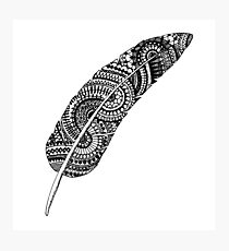 Feather zentangle black and white Photographic Print