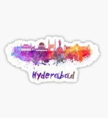 Hyderabad skyline in watercolor Sticker