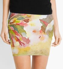 White Cherry Blossoms Digital Watercolor Painting 1 Mini Skirt