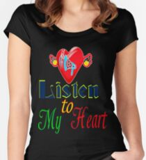 ۞»♥Romantic Love:Listen to My Heart Clothing & Stickers♥«۞ Women's Fitted Scoop T-Shirt