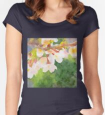White Cherry Blossoms Digital Watercolor Painting 2 Women's Fitted Scoop T-Shirt