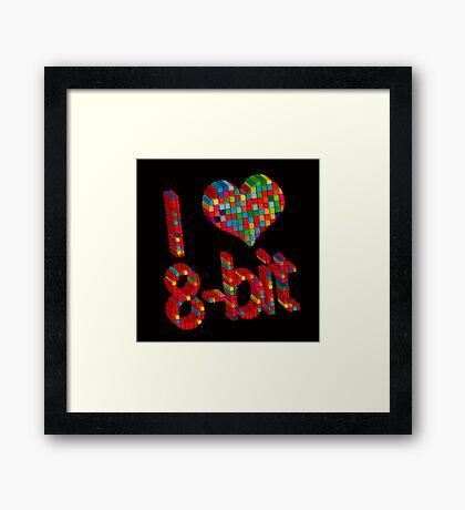 i heart 8 - Bit Framed Print