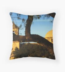 Spanish Mission, through the Trees Throw Pillow