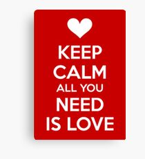 Keep calm all you need is love Canvas Print