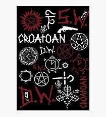 SPN Angel and Demon Sigils (white/red version) Photographic Print