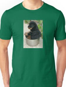 Rottweiler Puppy Sitting In A Bowl Of Food T-Shirt
