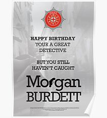 Morgan Burdett Detective Birthday Card Poster