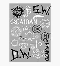 SPN Angel and Demon Sigils (Black/white version) Photographic Print